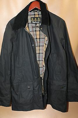 #123 Barbour Ashby Waxed Cotton Jacket Size L NAVY