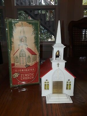 Vintage Glolite Plastic Light Up Christmas Church with Original Box- Works Great