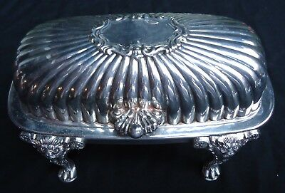 1883 F.B. Rogers Silver Co. Silverplated Roll Top Lion Footed Butter Dish