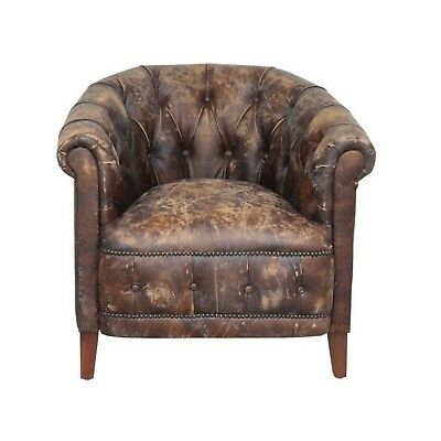 Aged Real Leather Club Side Chair Each One Hand Crafted High Design