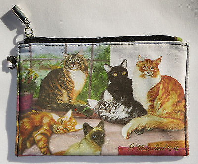 CATS Coin Purse Makeup Zippered Pouch Fully Lined Kittens Siamese Orange Tabby
