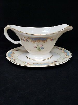 Edwin M Knowles China co Semi Vitreous Gravy Boat & Saucer