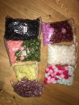 Organza Hand Made Flowers BUNDLE Job Lot-White Black Yellow Blue Pink-804 pcs-a
