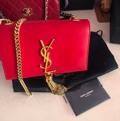 8a44561a651f YSL Yves Saint Laurent Monogram Small Kate Tassel Chain Bag Crossbody Red  Gold