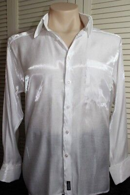 'lorenzini'  Vintage (Young Casuals) Dress Shirt. Iridecent Shimmer White