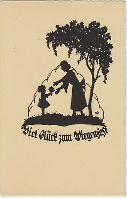 SILHOUETTE Little GIRL Mother Birthday Flowers FANTASY Vintage German PC c1920s
