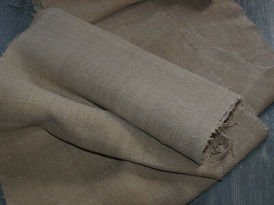 Herringbone Antique Vintage Linen Flax Fabric Organic Natural Material Yardage
