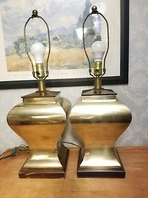 """《》 Vintage Pair Of 26"""" Mid Century Modern Square Table Lamps Gold Brass Mcm 《》"""