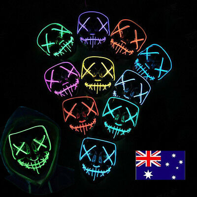 LED Cosplay Scary Blood Mask Halloween Costume Mask Wire Light Up 3 Modes