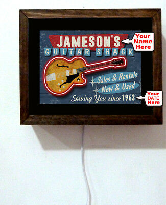 Personalized Your Name Guitar Shack Musician Sales Service Light Lighted Sign