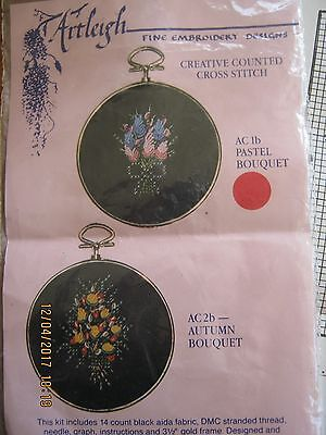 Fine Embroidery Counted Crossstitch Kit Pastel Bouquet Threads Black Aida Frame