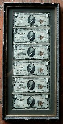 1929 Type 2 Series $10 National Bank Albion Ne Uncut Sheet Of 6 Framed Notes
