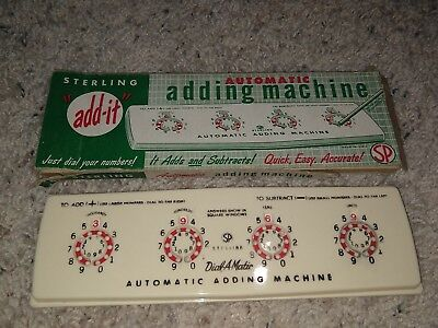 """Old Sterling """"add - It"""" Automatic Adding Machine # 565 Vintage With Box"""