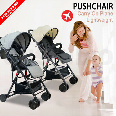 Lightweight Baby Pram Stroller Foldable Compact Pushchair Travel Carry On Plane