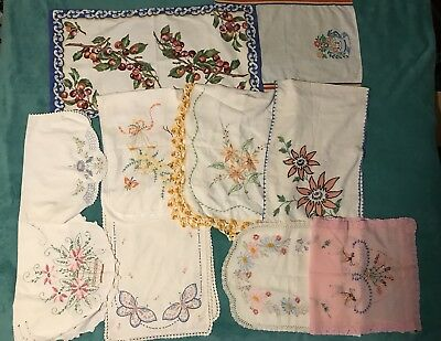 Lot Of 12 Vintage Hand Embroidered Table Runners Dresser Scarves