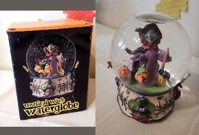 "NIB Halloween Musical Water Snow Globe ""Happy Witch"" NIB"