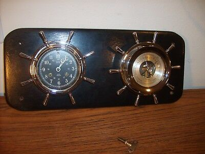 Antique Brass USA Salem Ships Wheel Bell Clock 8-Day Jeweled & Barometer w/Key