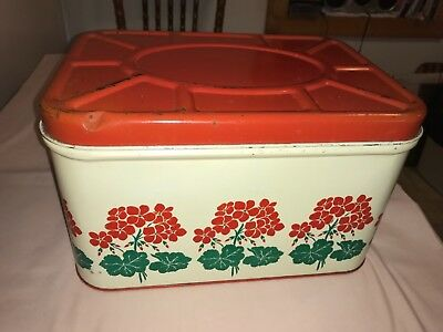 Hall China Red Poppy Tin Metal Red & White Floral Bread Box Hinged Lid Vintage