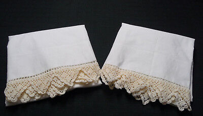 Vintage Pair Pillowcases with Beige Crochet Lace Edging