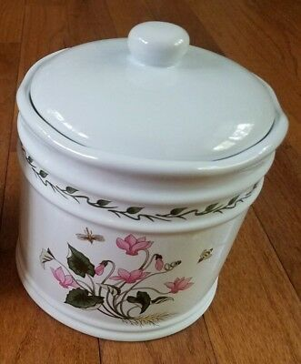 LILLIAN VERNON BOTANICAL LARGE CANISTER CERAMIC JAR RUBBER SEAL LID preowned