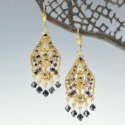 95a21f945 La Vie Parisienne Catherine Popesco Filigree Chandelier Black Crystal  Earrings