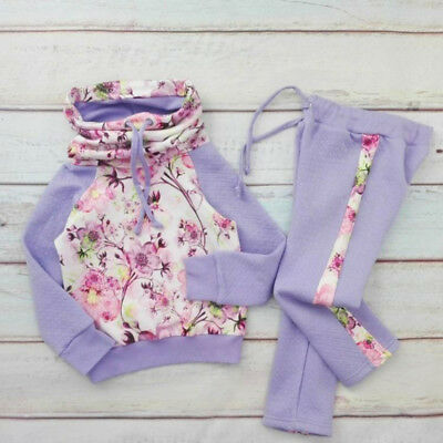 US Cute Toddler Kids Baby Girl Flower Top Sweatshirt Pants Outfits Clothes 2-7T