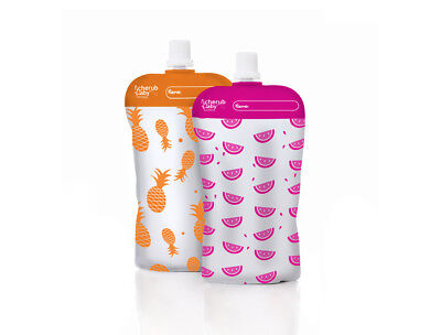 NEW Cherub Baby On the Go Mini Food Pouches - Neon Melon & Hot Pineapple 10 pack
