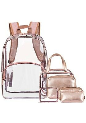 NiceEbag 6 in 1 Clear Backpack with Cosmetic Bag