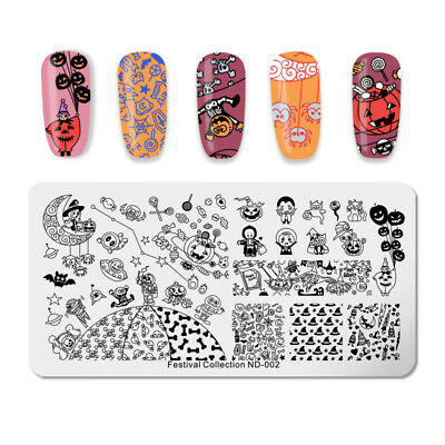 NICOLE DIARY Halloween Nail Stamping Plates Pumpkin Elf Manicure Image Templates