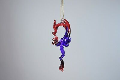 Hanging Red and Purple Dragon of Blown Glass Crystal