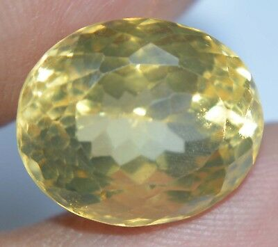 VVS 14.35 Ct 100% Natural Yellow Citrine Oval Brilliant Cut AAA+ Quality Gem