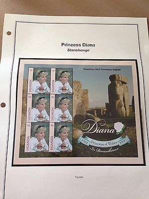 Princess Diana Souvenir Sheet of 6 Stamps. Uganda. MNHOG.