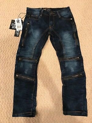 NWT Boy's LR Scoop Medium Blue Zipper Distressed Skinny Jeans SIZE 4 ONLY