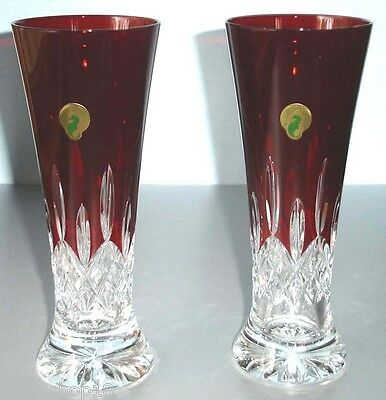 Waterford Lismore Pilsner Red Crystal Beer Glass SET of 2 New