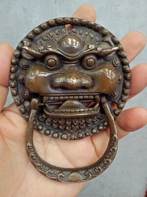 Collectable!China Fengshui Brass Dragon Head Mask Statue Door knocker expel evil