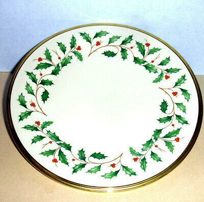 "Lenox Holiday Salad Dessert Plate Gold Banded Ivory China 8"" New"