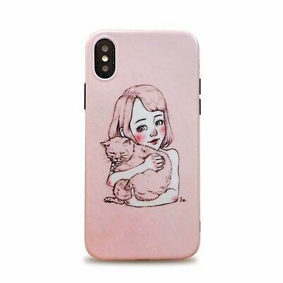 Cartoon Adorable Comics Cat Girl Silicone Soft Case For iPhoneXS MAX XR 7 8 Plus
