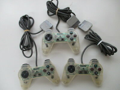 PS1 HORIPAD Controller Clear Lot of 3 Yellowed Scratches JP NO2