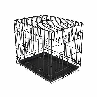 Pet Cage Crate Carrier Transport With Handle 2 Doors For Dogs Cats Black Metal