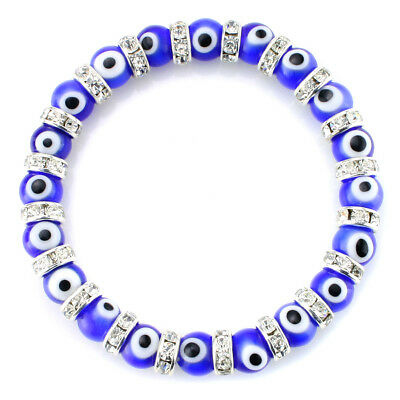 Turkish Evil Eye Glass Beaded Stretch Bracelet Rondelle Crystal Spacers Bracelet