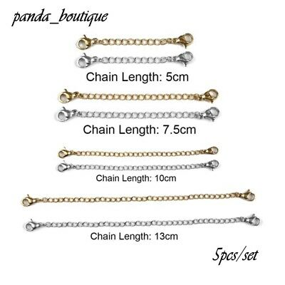 5Pcs/Pack Extension Tail Chains With Lobster Clasps DIY Jewelry Making Findings