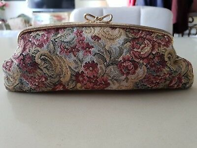 Gorgeous 1950's Vintage Floral Tapestry Clutch Purse - England