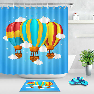Blue Sky Cloud Star Colored Hot Air Balloon Polyester Fabric Shower Curtain  Set