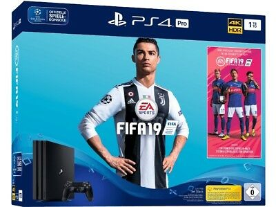 Sony PS4 Pro 1TB Jet Black / Fifa 19-Bundle + Disney Infinity Münze | NEU & OVP