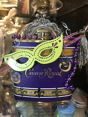 Mardi Gras Themed CROWN ROYAL Limited Edition FLASK PURPLE / GOLD
