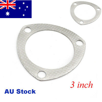 "2x 3"" 3 Bolt Catback Exhaust Header Down Pipe Manifold Collector Gasket AU Stock"