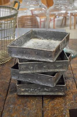 Vintage Industrial Metal Boxes Office Paper Trays House Plant Planters