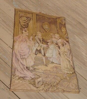 """Antique FRENCH Woven Tapestry 25""""x39"""" Made in France Nobles Children Dog"""