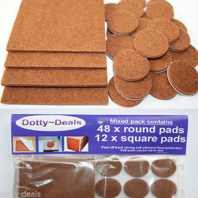 Felt Self Adhesive Pads Protects Wood Vinyl Laminate Floors Mix Pack 12SQ & 48R