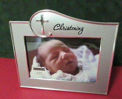 Christening Silver Metal 4 x 6 easel back picture frame with glass/backing